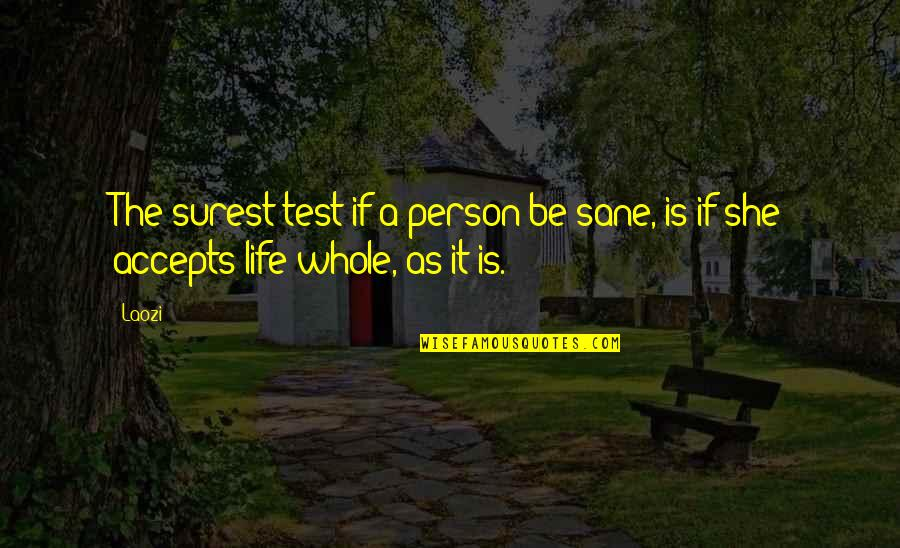 Life Accepting Quotes By Laozi: The surest test if a person be sane,
