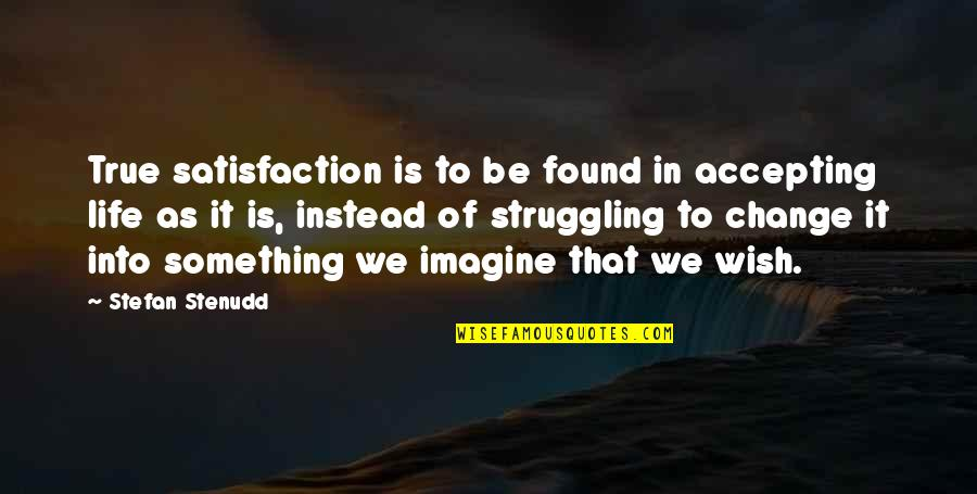 Life Accepting Quotes By Stefan Stenudd: True satisfaction is to be found in accepting