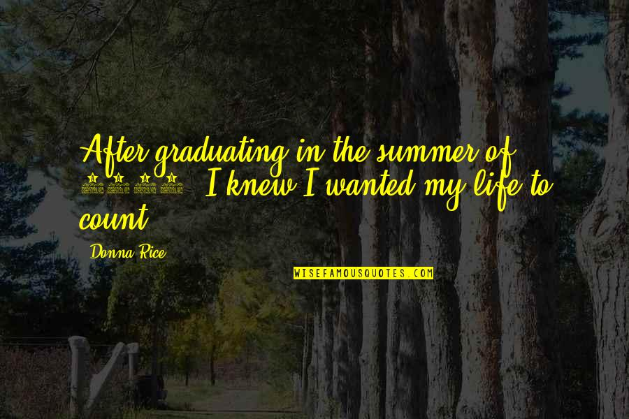 Life After Graduation Quotes By Donna Rice: After graduating in the summer of 1980, I
