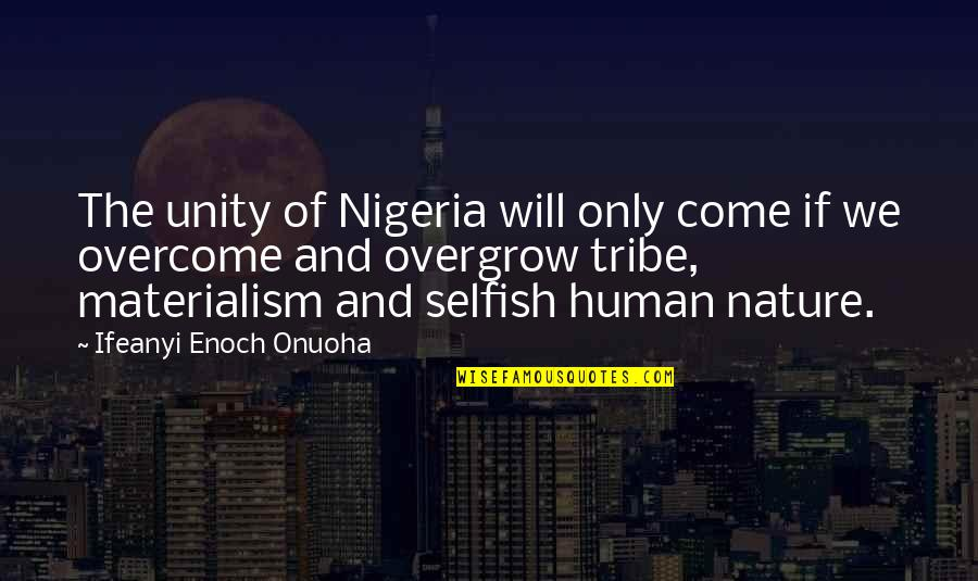 Life And Human Nature Quotes By Ifeanyi Enoch Onuoha: The unity of Nigeria will only come if