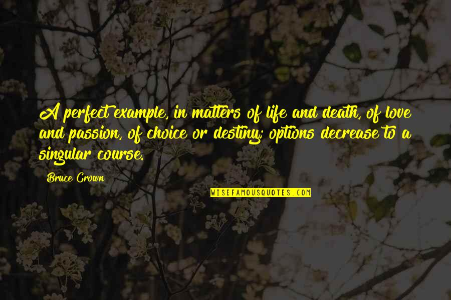 Life And Love And Death Quotes By Bruce Crown: A perfect example, in matters of life and