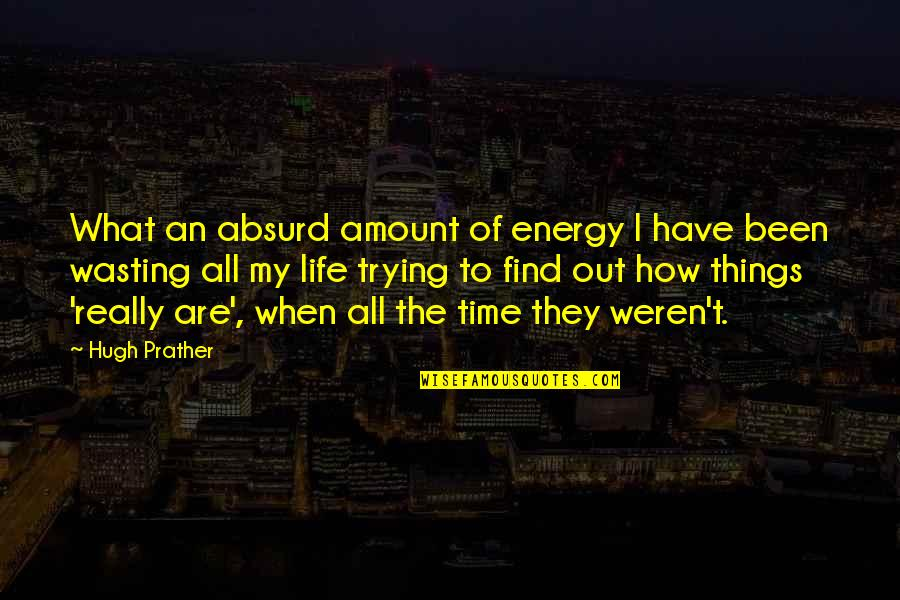 Life And Wasting Time Quotes By Hugh Prather: What an absurd amount of energy I have