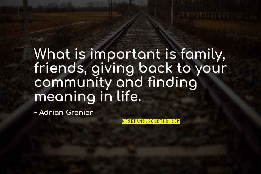 Life And What's Important Quotes By Adrian Grenier: What is important is family, friends, giving back