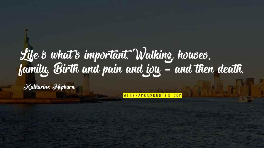 Life And What's Important Quotes By Katharine Hepburn: Life's what's important. Walking, houses, family. Birth and