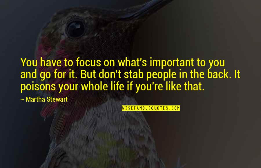 Life And What's Important Quotes By Martha Stewart: You have to focus on what's important to