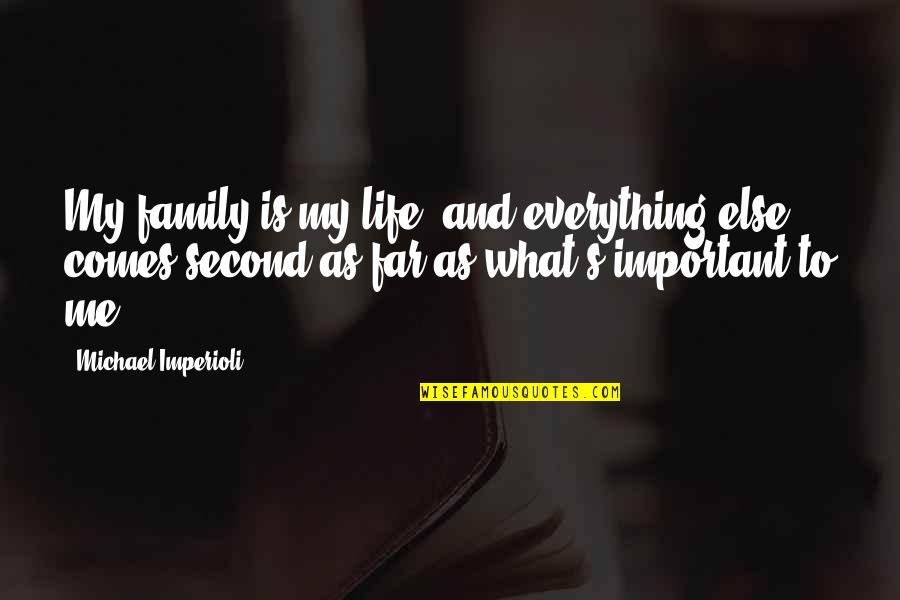 Life And What's Important Quotes By Michael Imperioli: My family is my life, and everything else
