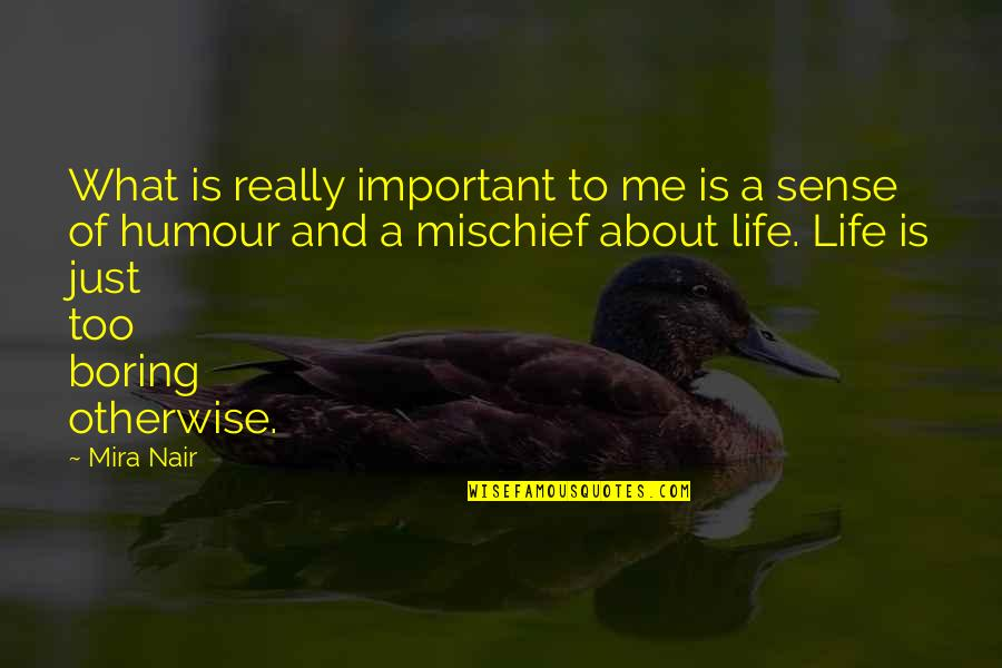 Life And What's Important Quotes By Mira Nair: What is really important to me is a