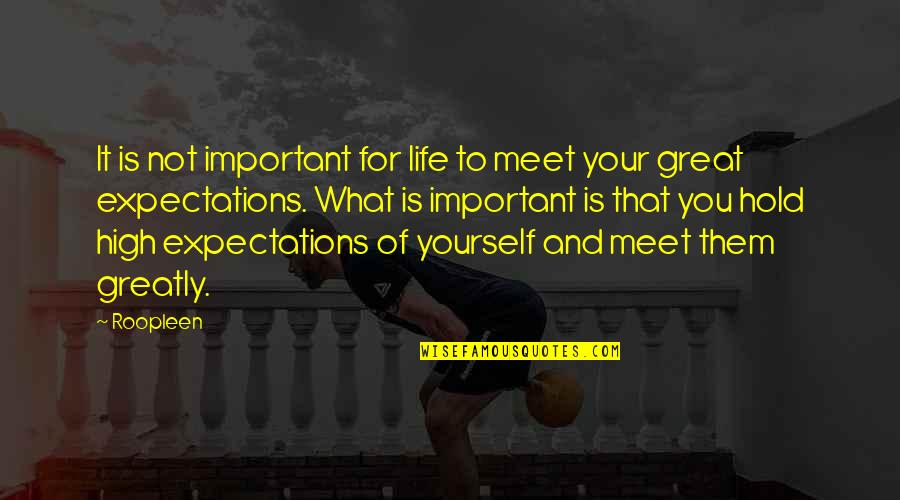 Life And What's Important Quotes By Roopleen: It is not important for life to meet