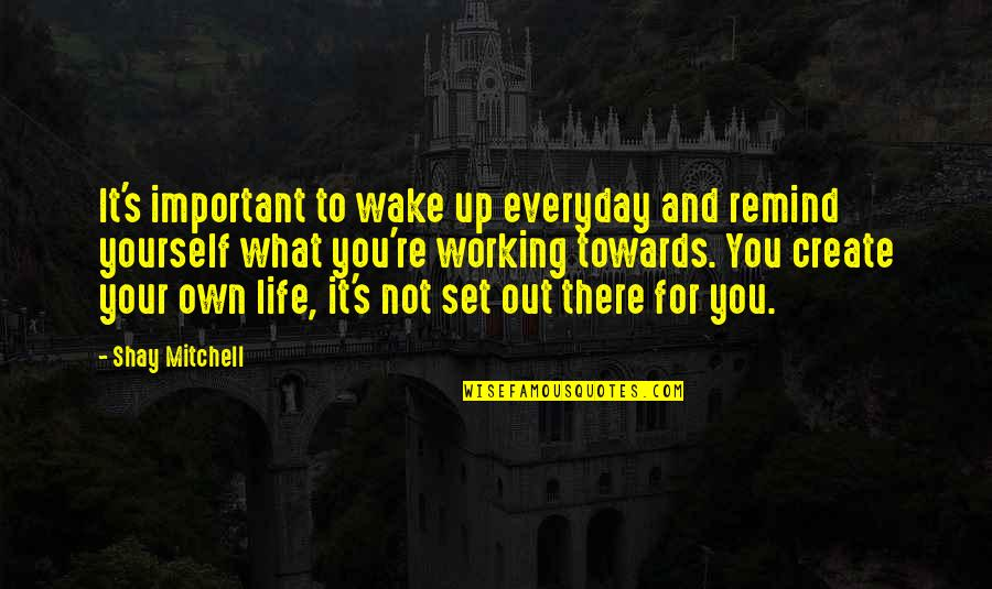 Life And What's Important Quotes By Shay Mitchell: It's important to wake up everyday and remind