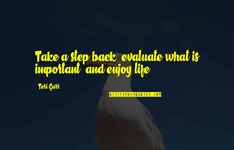 Life And What's Important Quotes By Teri Garr: Take a step back, evaluate what is important,