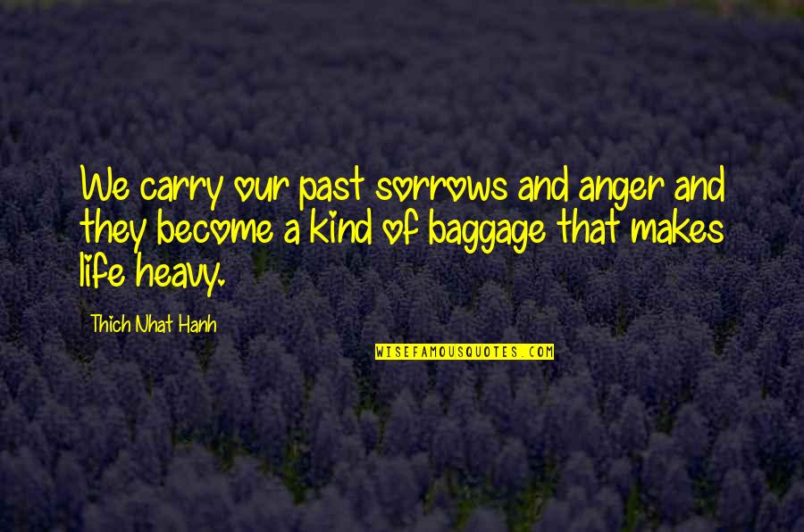 Life Baggage Quotes By Thich Nhat Hanh: We carry our past sorrows and anger and
