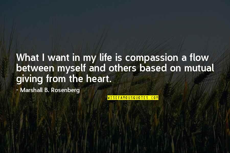 Life Based Quotes By Marshall B. Rosenberg: What I want in my life is compassion