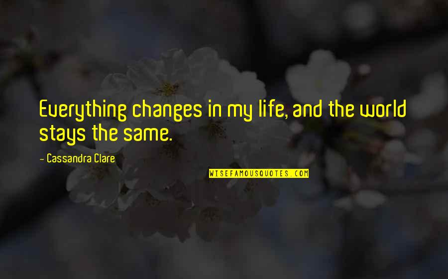 Life Changes Quotes By Cassandra Clare: Everything changes in my life, and the world