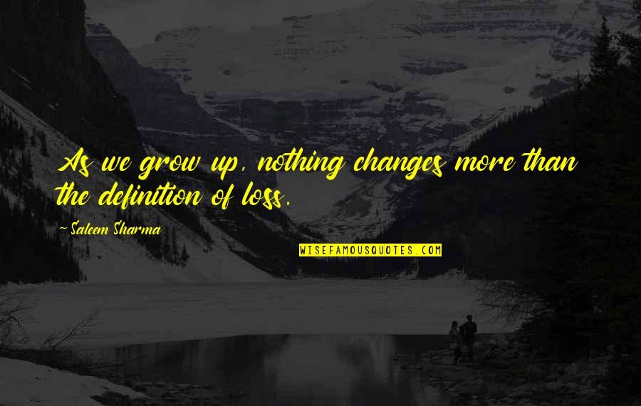 Life Changes Quotes By Saleem Sharma: As we grow up, nothing changes more than
