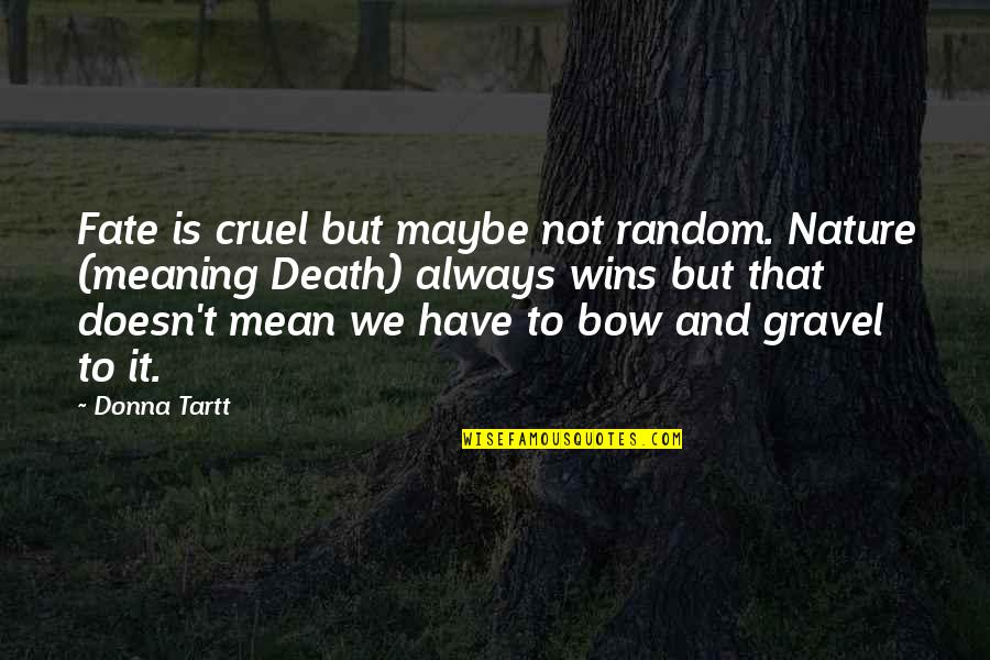 Life Death And Meaning Quotes By Donna Tartt: Fate is cruel but maybe not random. Nature