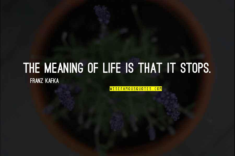 Life Death And Meaning Quotes By Franz Kafka: The meaning of life is that it stops.