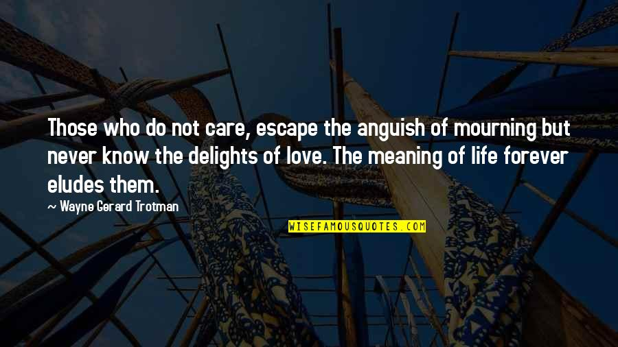 Life Death And Meaning Quotes By Wayne Gerard Trotman: Those who do not care, escape the anguish