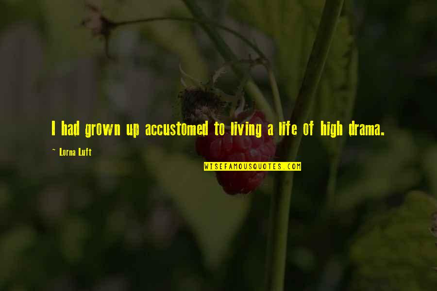 Life Drama Quotes By Lorna Luft: I had grown up accustomed to living a