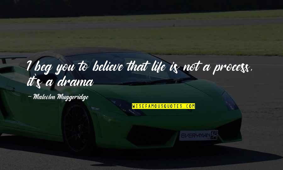 Life Drama Quotes By Malcolm Muggeridge: I beg you to believe that life is