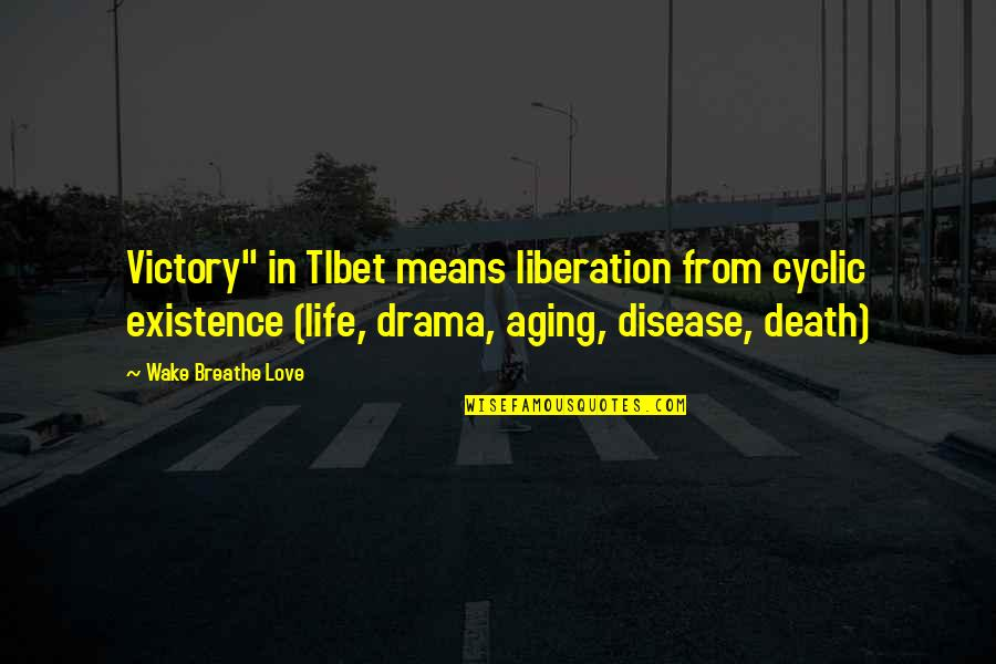 "Life Drama Quotes By Wake Breathe Love: Victory"" in TIbet means liberation from cyclic existence"