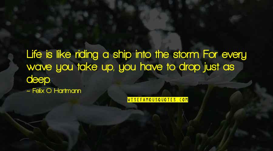 Life Drop Quotes By Felix O. Hartmann: Life is like riding a ship into the