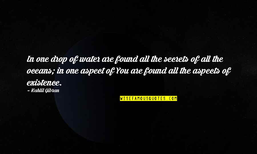 Life Drop Quotes By Kahlil Gibran: In one drop of water are found all