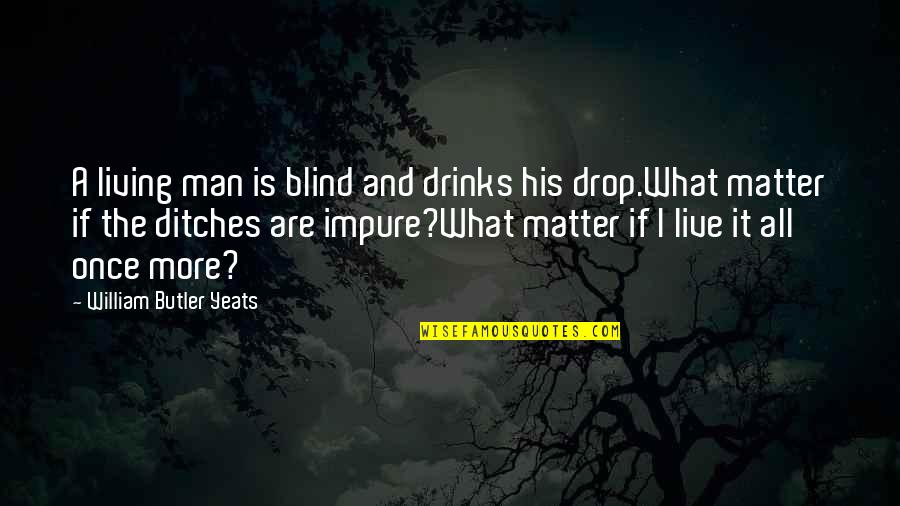 Life Drop Quotes By William Butler Yeats: A living man is blind and drinks his