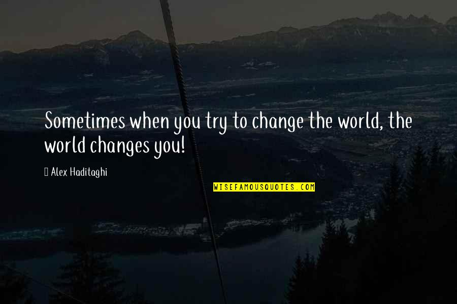 Life Experience Quotes By Alex Haditaghi: Sometimes when you try to change the world,