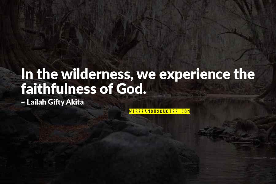 Life Experience Quotes By Lailah Gifty Akita: In the wilderness, we experience the faithfulness of