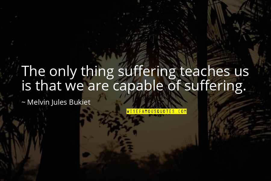 Life Experience Quotes By Melvin Jules Bukiet: The only thing suffering teaches us is that