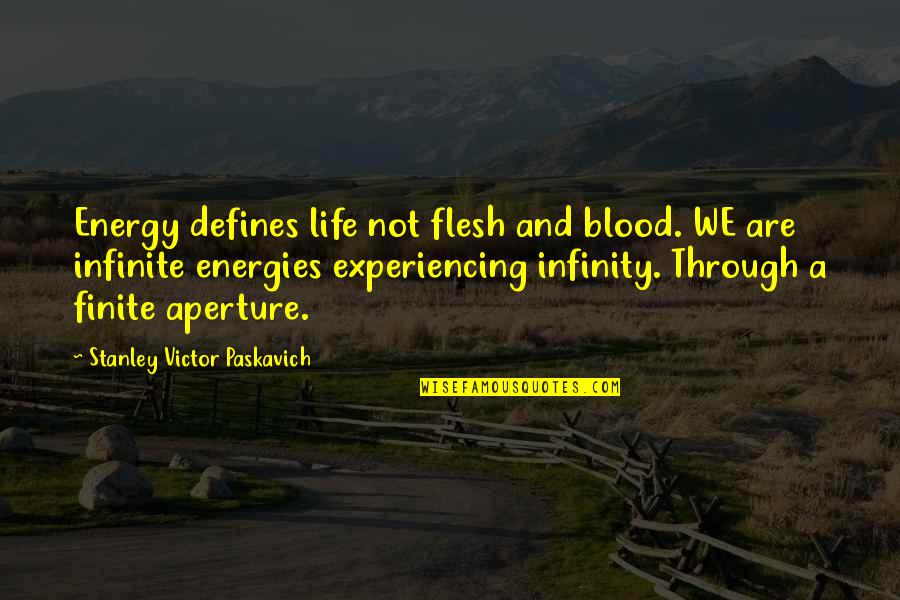 Life Experiencing Quotes By Stanley Victor Paskavich: Energy defines life not flesh and blood. WE