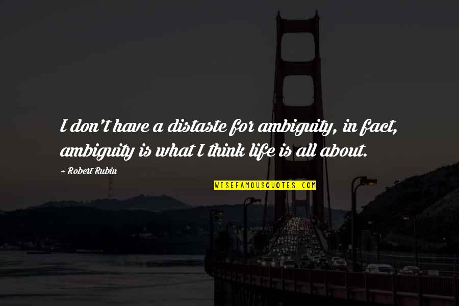 Life Facts Quotes By Robert Rubin: I don't have a distaste for ambiguity, in