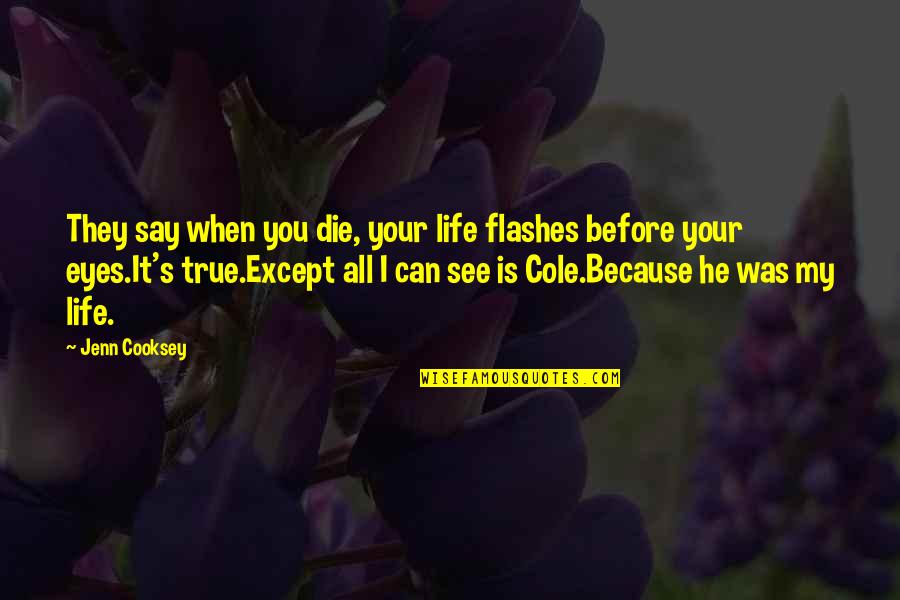 Life Flashes Quotes By Jenn Cooksey: They say when you die, your life flashes