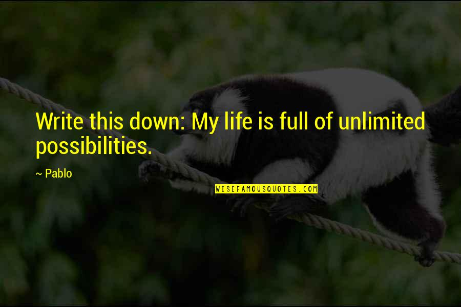 Life Full Of Attitude Quotes By Pablo: Write this down: My life is full of