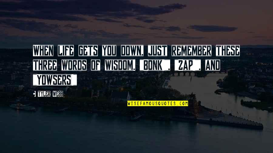 Life Gets You Down Quotes By Tyler Webb: When life gets you down, just remember these