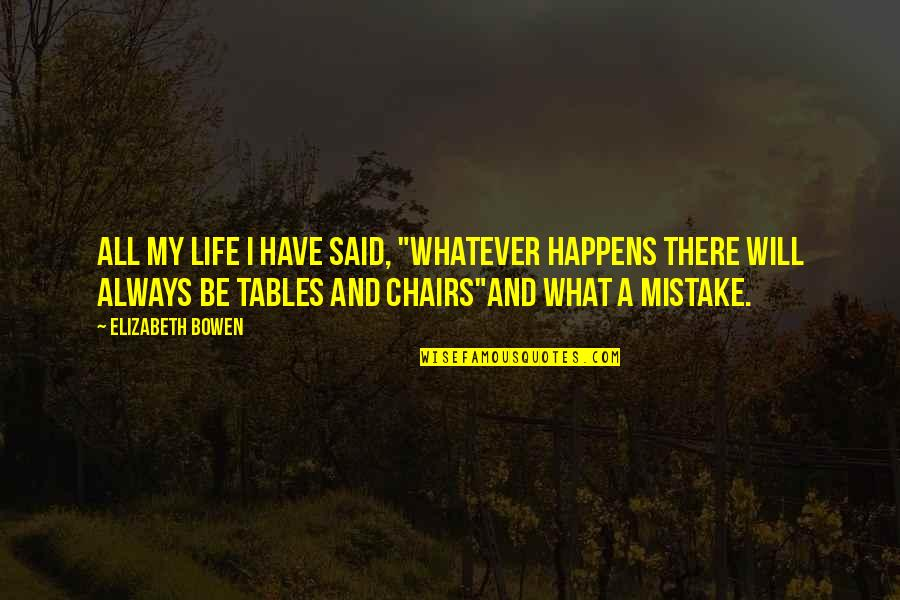 """Life Happens Quotes By Elizabeth Bowen: All my life I have said, """"Whatever happens"""