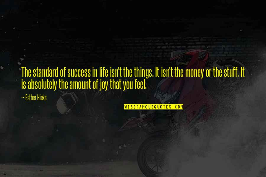Life Happiness And Money Quotes By Esther Hicks: The standard of success in life isn't the