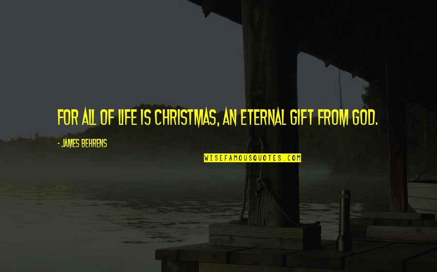 Life In Christmas Quotes By James Behrens: For all of life is Christmas, an eternal