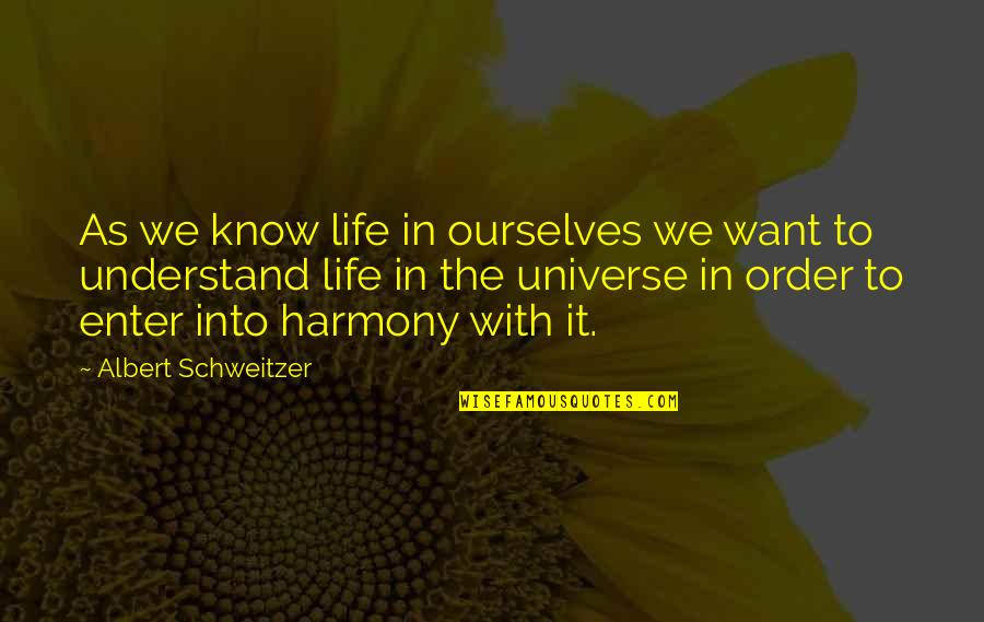 Life In The Universe Quotes By Albert Schweitzer: As we know life in ourselves we want