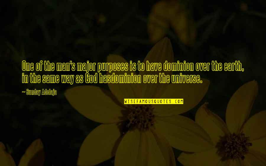 Life In The Universe Quotes By Sunday Adelaja: One of the man's major purposes is to