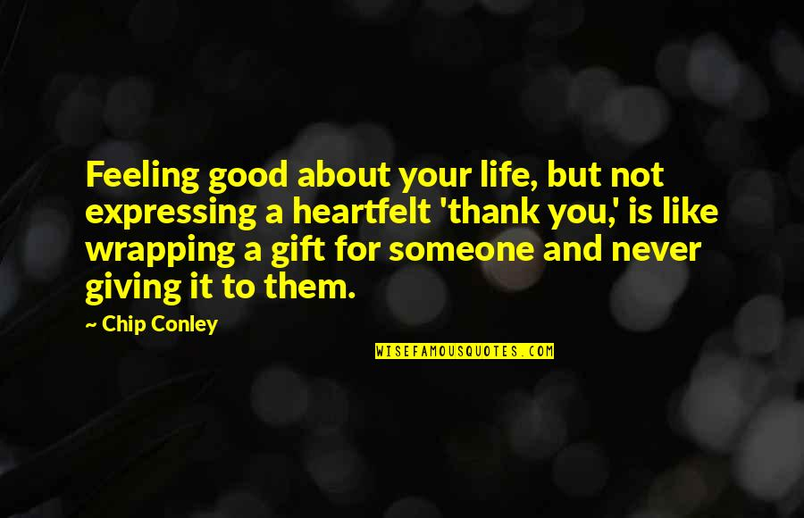 Life Is A Gift Quotes By Chip Conley: Feeling good about your life, but not expressing