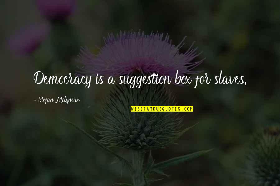 Life Is Great Images And Quotes By Stefan Molyneux: Democracy is a suggestion box for slaves.
