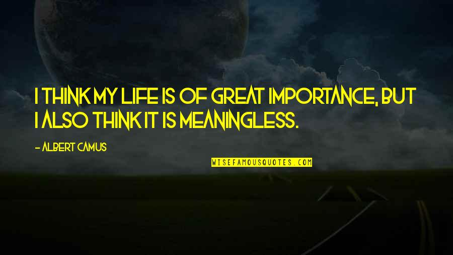 Life Is Meaningless Without You Quotes By Albert Camus: I think my life is of great importance,
