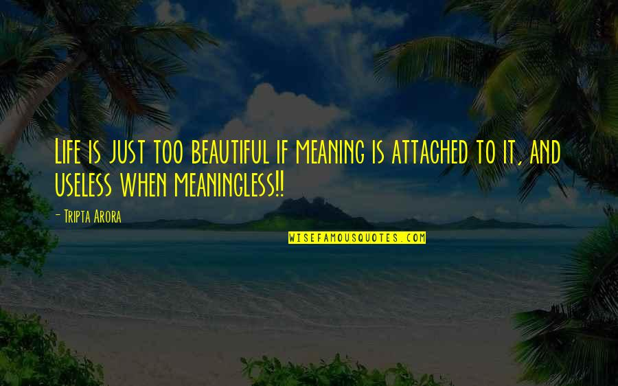 Life Is Meaningless Without You Quotes By Tripta Arora: Life is just too beautiful if meaning is