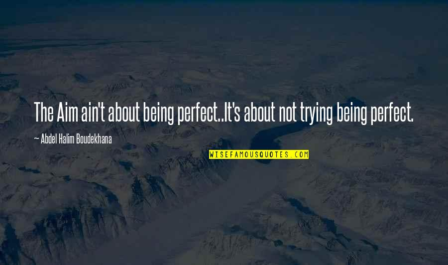 Life Is Perfect Now Quotes By Abdel Halim Boudekhana: The Aim ain't about being perfect..It's about not