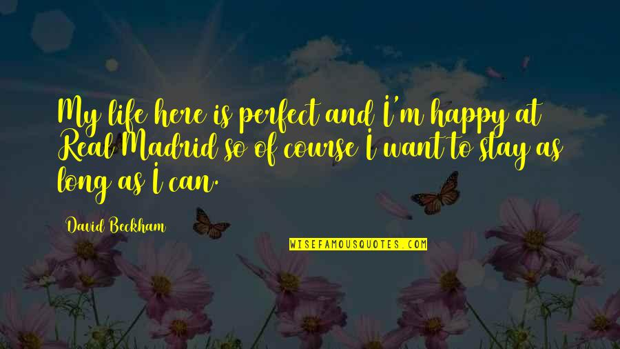 Life Is Perfect Now Quotes By David Beckham: My life here is perfect and I'm happy