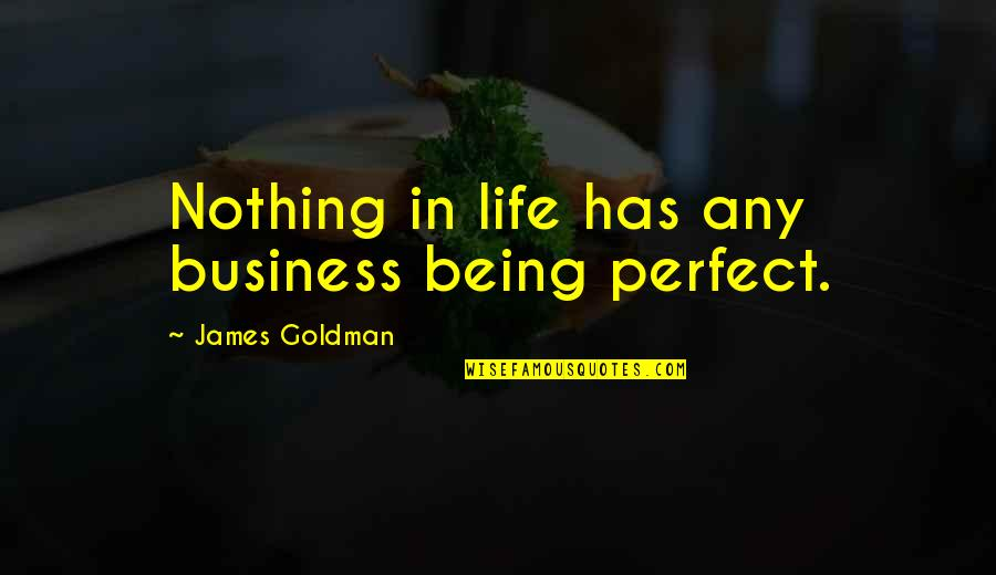 Life Is Perfect Now Quotes By James Goldman: Nothing in life has any business being perfect.