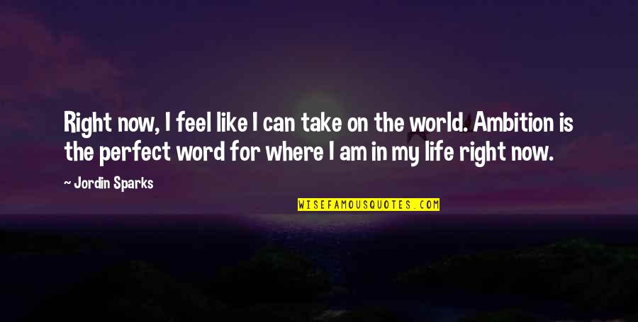 Life Is Perfect Now Quotes By Jordin Sparks: Right now, I feel like I can take