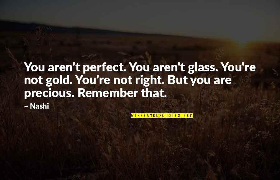 Life Is Perfect Right Now Quotes By Nashi: You aren't perfect. You aren't glass. You're not