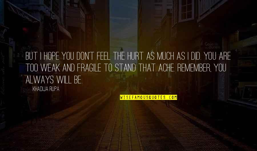 Life Is Too Fragile Quotes By Khadija Rupa: But I hope you don't feel the hurt